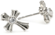 The Vatican Library Collection Silver Crystal Cross Stud Earrings