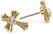The Vatican Library Collection Gold Crystal Cross Stud Earrings