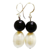 Classical Black Onxy & White Pearl Earring with Sterling Silver fishhook