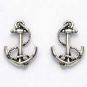 Sterling Silver Nautical Anchor with Rope Stud Earrings