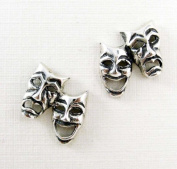 Sterling Silver Comedy & Tragedy Masks Post Earrings