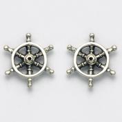 Sterling Silver Nautical Ships Wheel Stud Earrings