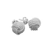 . Sterling Silver Rope Knot Stud Earrings