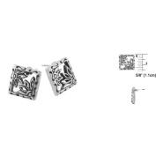 Sterling Silver Daisy Flower Square Stud Earrings