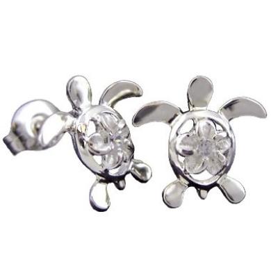 925 Silver Turtle & Plumeria Stud Earrings Hawaiian Jewellery