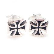 Solid Maltese Sterling Silver Iron Cross Earrings with Black Enamel