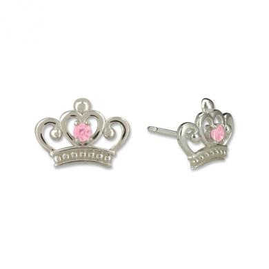 Disney Princess Sterling Silver Pink Crown Shaped Stud Earrings