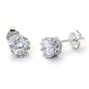 Sterling Silver 8MM Crown CZ Cubic Zirconia Stud Earrings