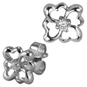 Four Leaf Clover Diamond Cubic Zirconia Lucky Charm Platinum Overlay CAREFREE Sterling Silver Stud Earrings