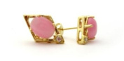 Pink Cat's Eye Stud Earrings in Diamond Frame