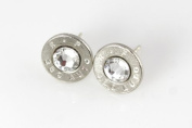 Classy, Dainty .380 Auto Nickel Bullet Head Stud Earrings with. Crystals