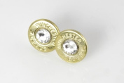 Classy, Dainty Winchester AK-47 Brass Bullet Head Stud Earrings with. Crystals