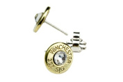 Classy, Dainty Winchester .357 SIG Brass Bullet Head Stud Earrings with. Crystals