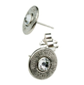 Classy, Dainty 30-06 Nickel Bullet Head Earrings with. Crystals
