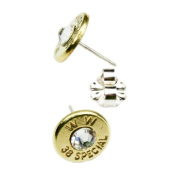 Classy, Dainty .38 Special Brass Bullet Head Earrings with. Crystals