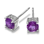 Sterling Silver .82CT Round Amethyst Earrings