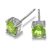Sterling Silver 1.00CT Round Peridot Earrings