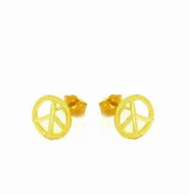 14K Yellow Gold Peace Sign Diamond Cut Stud Earrings Small 8mm