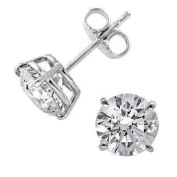 Sterling Silver (925) Stud Earrings Cubic Zirconia 1.00 ct Size New Lovely