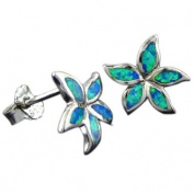 Rhodium Silver Opal Plumeria Starfish Earrings Hawaiian Jewellery