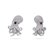 Sparkling Sterling Silver Cubic Zirconia Octopus Earrings