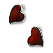 Sterling silver and cherry amber, heart-shaped earrings