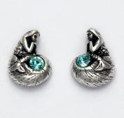 Sterling Silver Thinking Mermaid with Aqua Crystal Stud Earrings