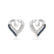 Platinum Plated Sterling Silver Blue and White Round Diamond Heart Earrings