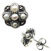 Four Petal Cross-stitch Silver Natural Seed Pearl Stud Earrings - Dahlia Vintage Collection