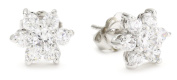 """CZ by Kenneth Jay Lane """"Basics"""" Floral Rounds Cubic Zirconia Stud Post Earrings"""