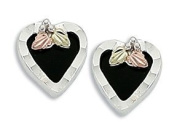 Black Hills Silver Onyx Heart Earrings with 8X8 mm Heart Shaped Onyx Stone