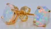 14KT YELLOW GOLD OPAL STUD EARRINGS