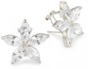 "CZ by Kenneth Jay Lane ""Elegant Cubic Zirconia"" Rhodium-Plated Flower Earrings"