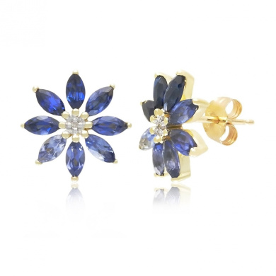 10k Yellow Gold Shades of Created Sapphire and Diamond-Accented Flower Earrings