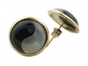 White Mother of Pearl and Onyx Domed Yin-Yang Swirl Stud Earrings, 14K Gold