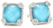 "Judith Ripka ""Linen"" Blue Small Cushion Stone Stud Earrings"