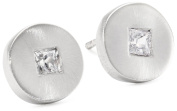 """Rotenier """"Disc and Square"""" Sterling Silver Disc with Sapphires Studs"""