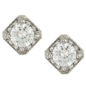 Square Earring Mountings w/Pave Diamond.48cttw (cz ctr
