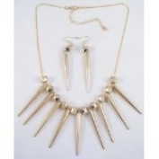 45.7cm Goldtone Spike Necklace & Earring Set Inspired By Basketball Wives