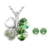 18K Gold Plated. Elements Crystal Heart Shaped Four Leaf Clover Pendant Necklace and Stud Earrings Jewellery Set