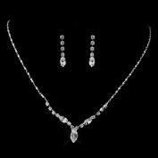 Bridal Wedding Jewellery Set Crystal Rhinestone V Shape Drop Necklace Silver Clear