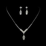 Bridal Wedding Jewellery Set Crystal Rhinestone Necklace V Teardrop Silver Clear