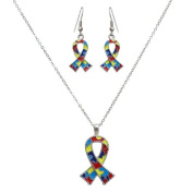 Silvertone Autism Ribbon Pendant Necklace and Earring Set Fashion Jewellery