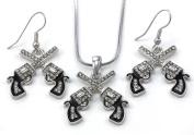 Texas Western Cowgirl Dual Revolver Pistol Gun Pendant Necklace Dangle Earrings Two-Piece Set