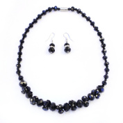 Jet Black Crystal Cluster Jewellery Necklace and Earrings Set