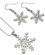 Gorgeous Sparkling Crystal Snowflake Pendant/necklace and Dangle Earring Set Silver Rhodium Plated - Christmas/Winter Fashion Jewellery