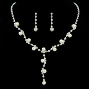 Classic Bridal Pearl and Rhinestone Wave Necklace Earrings Set