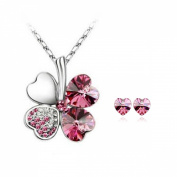 Lucky Sweethearts 18K Gold Plated. Elements Crystal Heart Shaped Four Leaf Clover Pendant Necklace and Earrings Jewellery Set