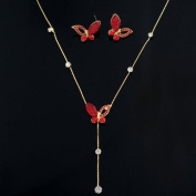 Crystalmood LUX Red. Rhinestone Butterfly Necklace Earrings Set