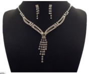 Silver & Rhinestone Formal Necklace & Earring Set - Prom/Wedding Jewellery Necklace or Choker